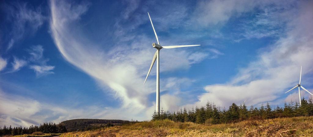 Panorama landscape of windmills in Boggeragh, Cork