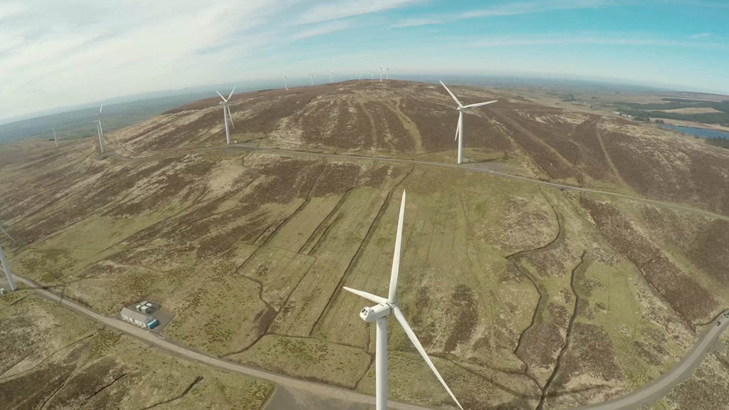 Aerial shot of turbine farm in Northern Ireland